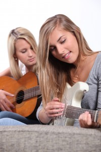 Playing guitar with friends