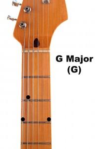 Strumming the G major guitar chord